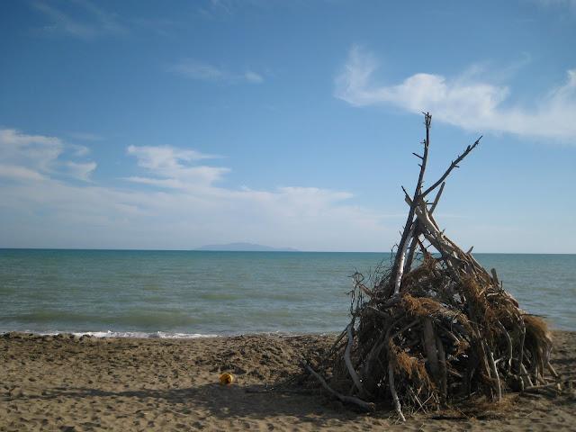 beach hut at alberese national park beach
