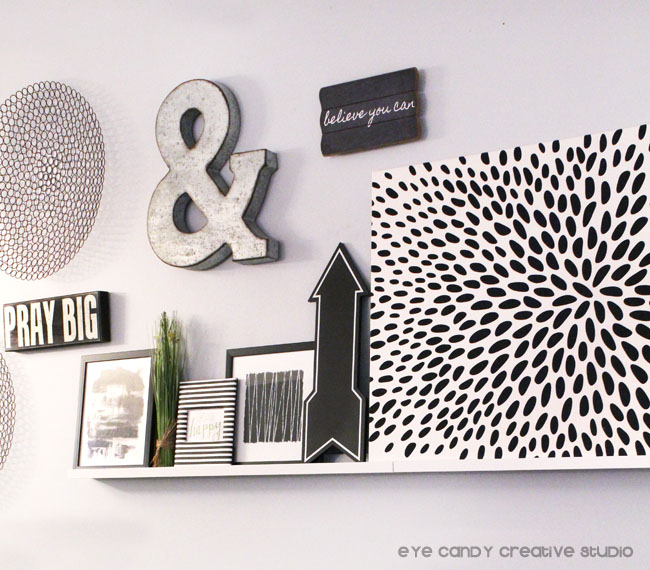 ideas for a living room gallery wall, black and white gallery wall, pray big