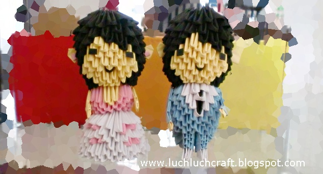 3d origami wedding couple