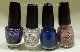 OPI Polka.com and Lights of Emerald City and China Glaze Manhunt and Hey Gorgeous