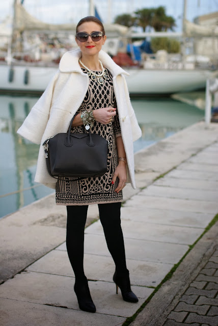 Chicwish white coat, baroque print dress, Givenchy Antigona bag, Fashion and Cookies, fashion blogger