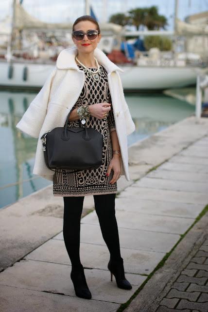 Chicwish white coat, baroque print dress, Givenchy Antigona bag, Fashion and Cookies, fashion blogger