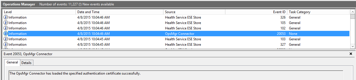 Monitoring add untrusted servers to scom 2012 r2 part 1 setup of event 20053 for the opsmgr connector i believe the error is 20051 if it failed but youll definitely see scom not happy if the import did not work yelopaper Image collections