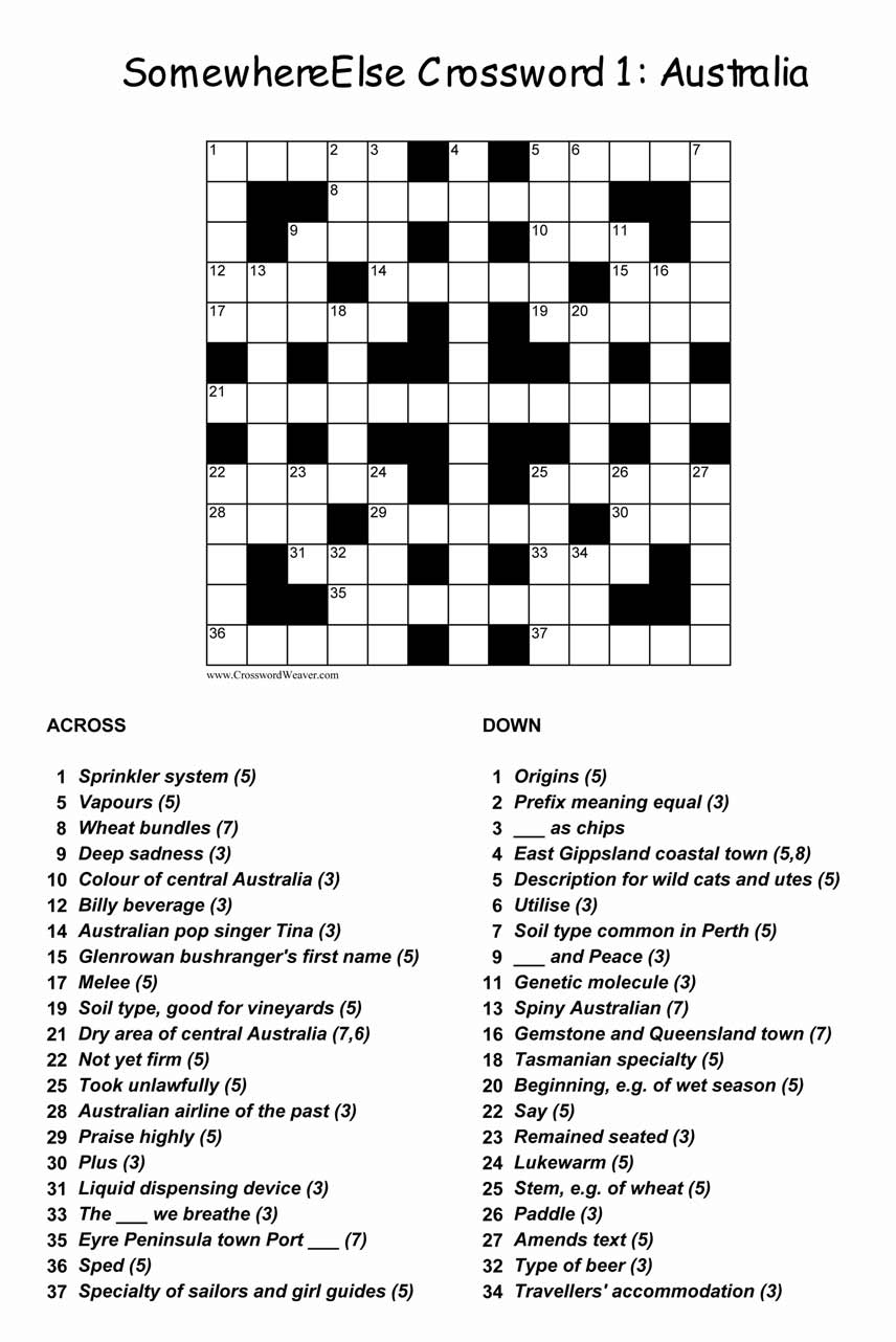 CROSSWORD IMAGE 1 CLICK TO ENLARGE