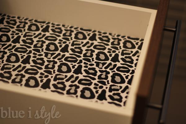 Leopard shelf paper in drawers