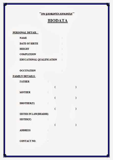 Marriage Biodata Doc Word Formate,Perfect Marriage Proposal Biodata ...