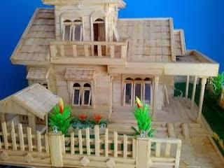 Membuat kerajinan tangan Cara Membuat Rumah dari Stik Es Krim