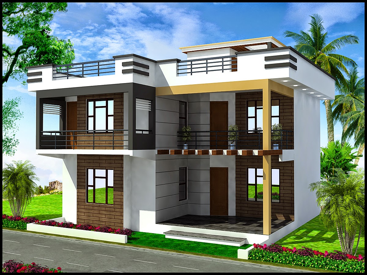 3d front elevation apna ghar commercial plaza joy studio for Front elevations of duplex houses