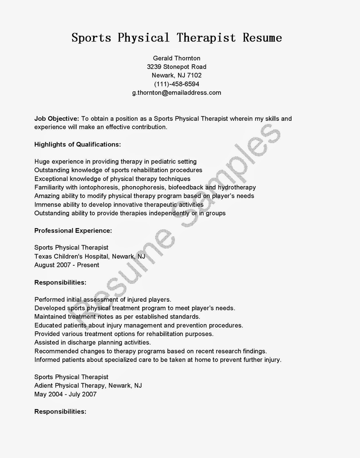 radiation therapy resume