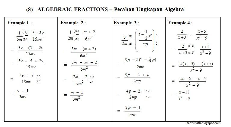 Pecahan Algebra (Algebraic Fractions)