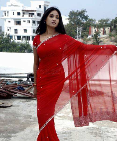 sony charishta red saree glamour  images