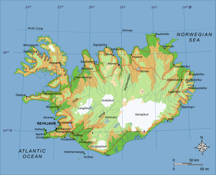 google maps europe: Map of Iceland Geography Pictures