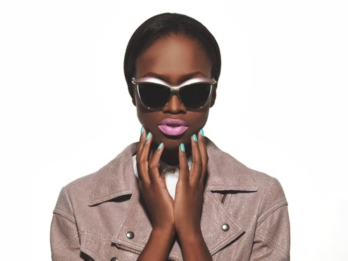 Dark skinned model with ombre lips and a matte face