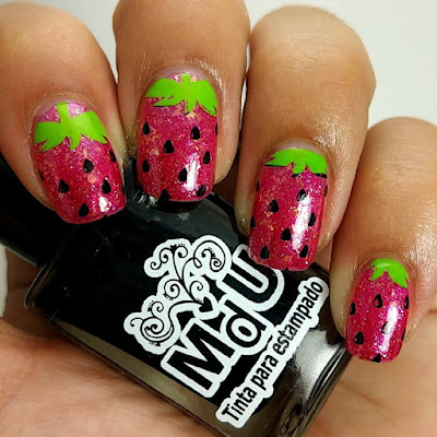 Summer Strawberry Nail Stamping Manicure