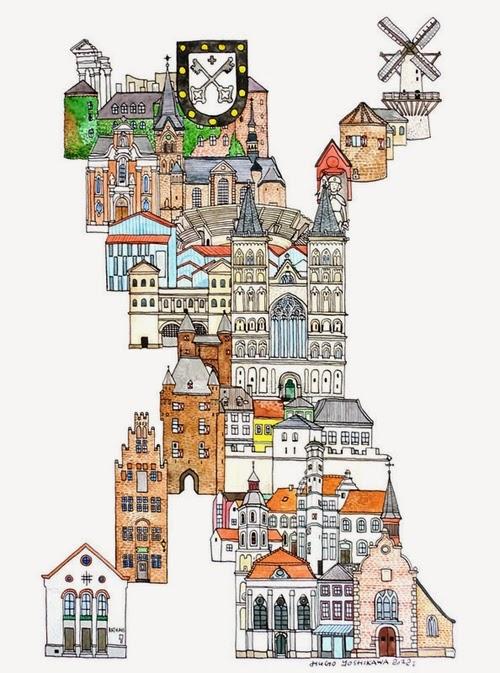 24-X-Xanten-Germany-Hugo-Yoshikawa-Illustrated-Architectural-Alphabet-City-Typography-www-designstack-co
