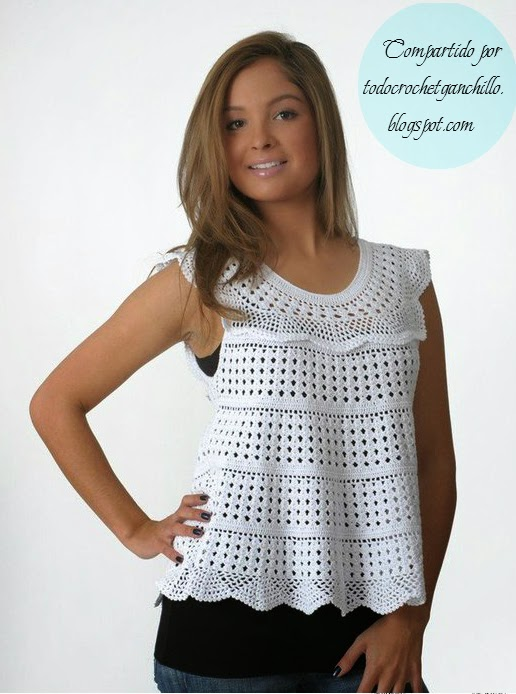 Blusa tejida con ganchillo sin mangas de diseño suelto