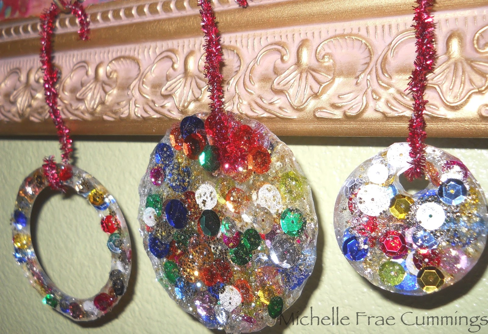 Christmas Decorations To Make Yourself - Michelle here with some christmas ornaments i made using clear cast resin and sequins to make some of these for yourself you will need