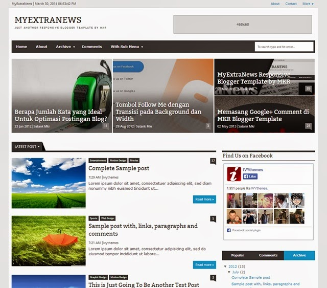 MyExtraNews Free Download Blogger Template
