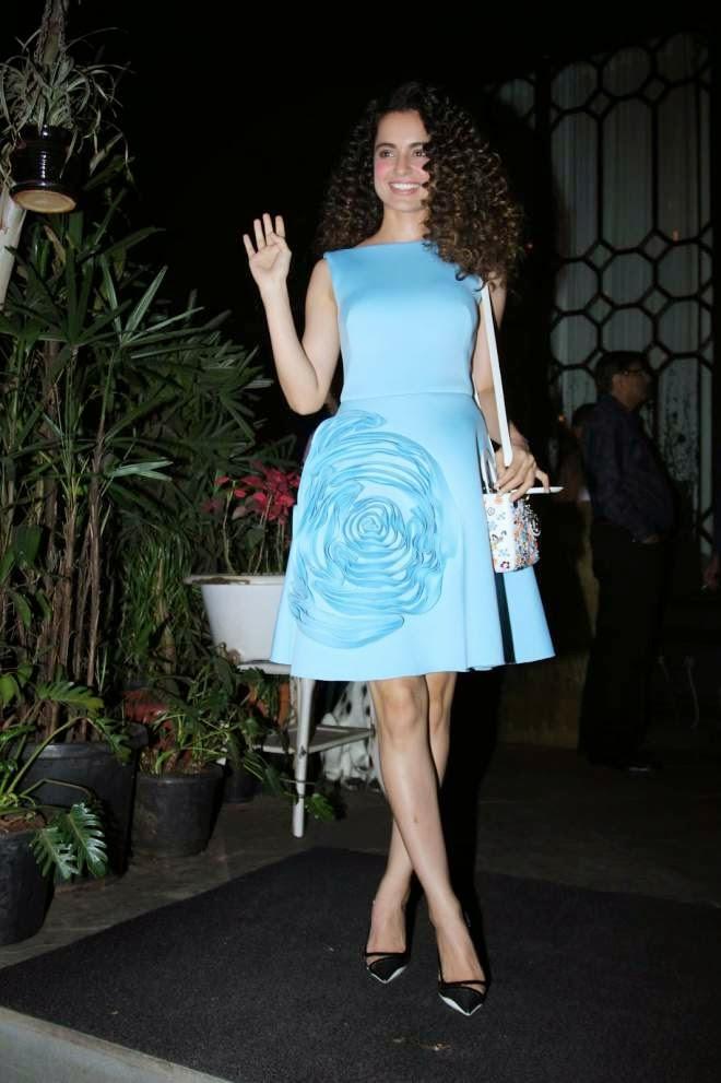 Kangana Ranaut Demure Powder Blue Gauri and Nainika Outfit Photos