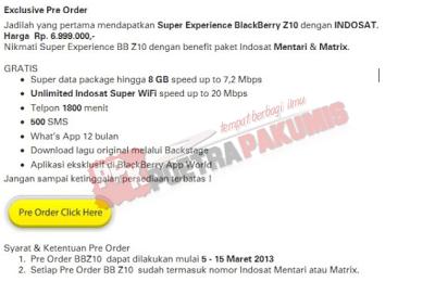Harga Blackberry Z10 dari indosat