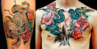 Melhores fotos tatuagens de cobras coloridas