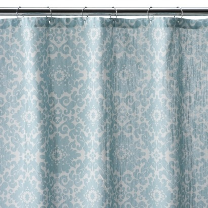 this shower curtain from target might look nice with some coral