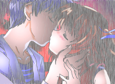 Anime Couple Kiss in rain Wallpaper