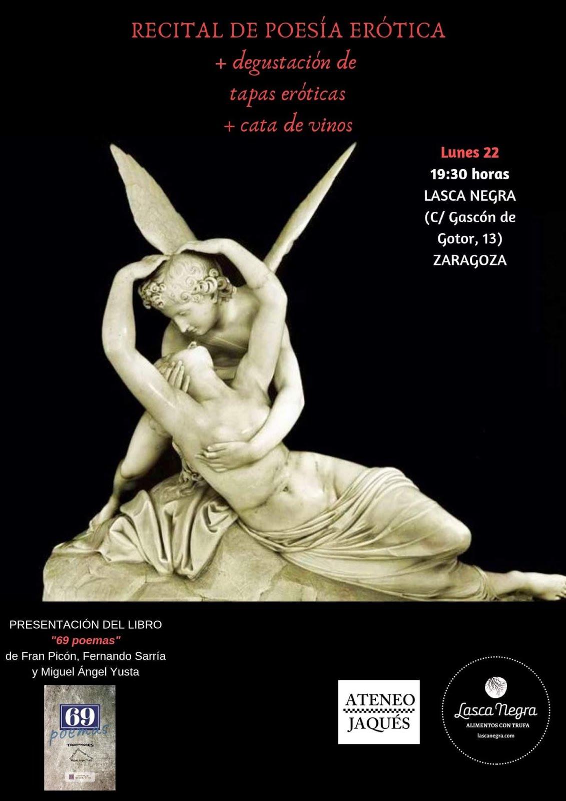 Lunes 22, 19 horas: Recital de poesía erótica y degustación de tapas