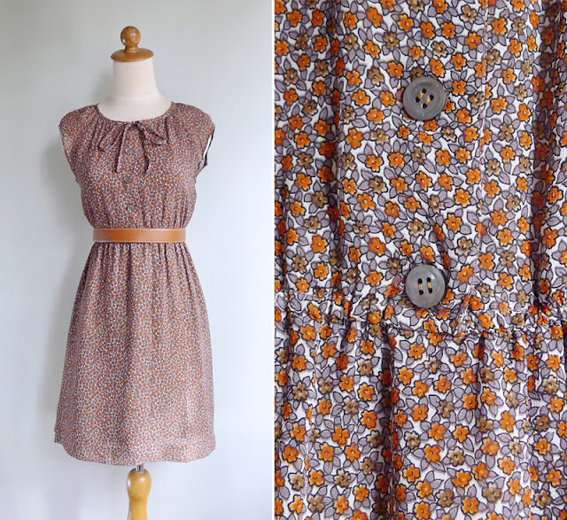 vintage 1970's orange floral print mini retro dress