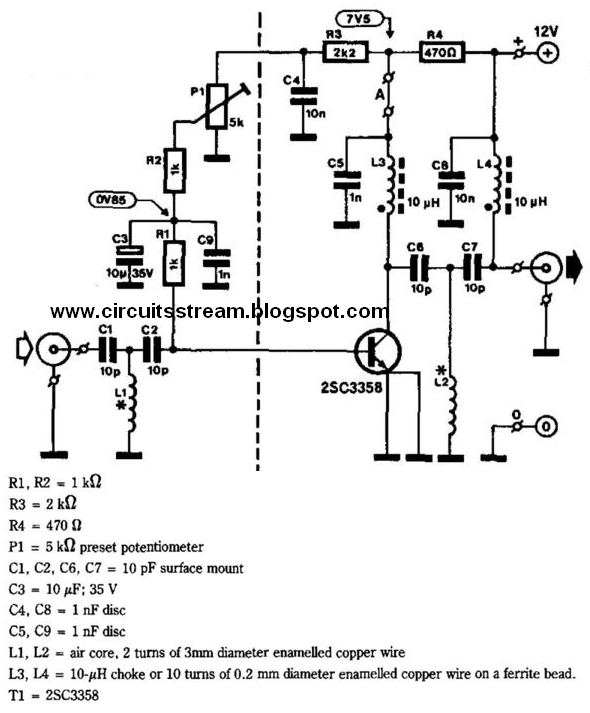 Tv Amplifier Wiring Diagram : Simple uhf tv line amplifier wiring diagram schematic