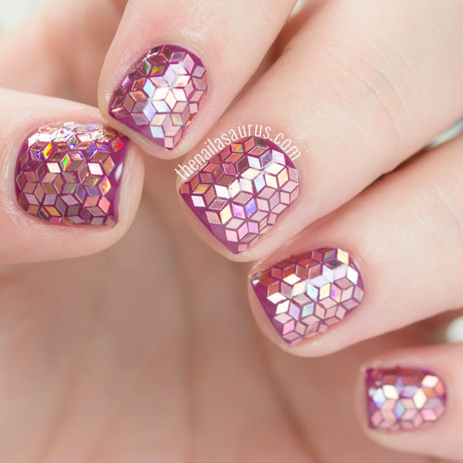 31DC2015: Glitter Placement Nail Art