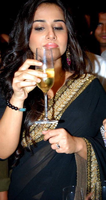 Vidya Balan in Black Saree Photos at kahaani movie success party latest photos