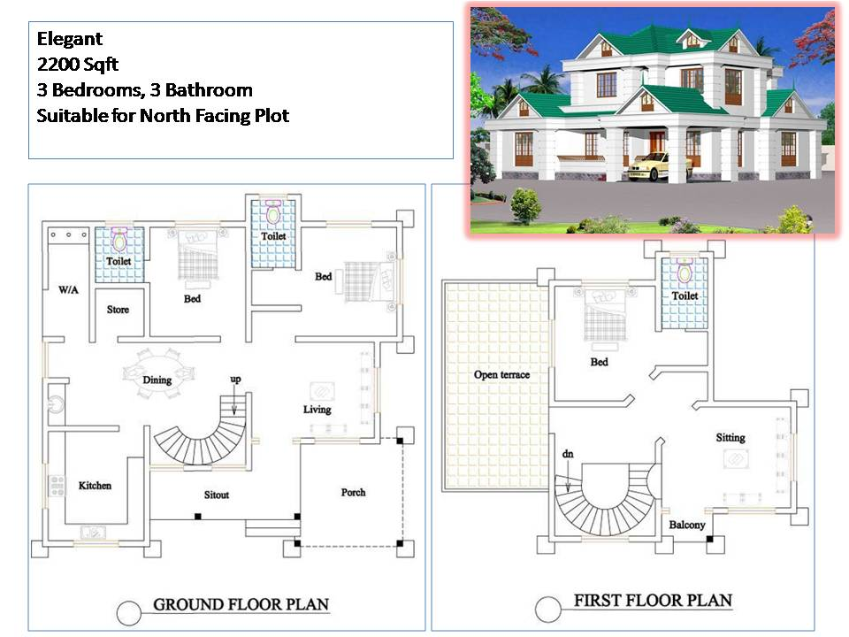Kerala style house plans 2200 sqft 3 bedroom 2 story house for Three bedroom house plans kerala style