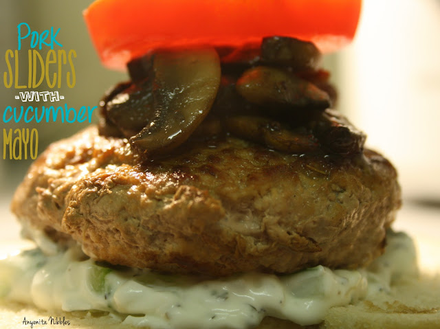 Photo of a Pork Slider with Cucumber Mayo, mushrooms and tomato