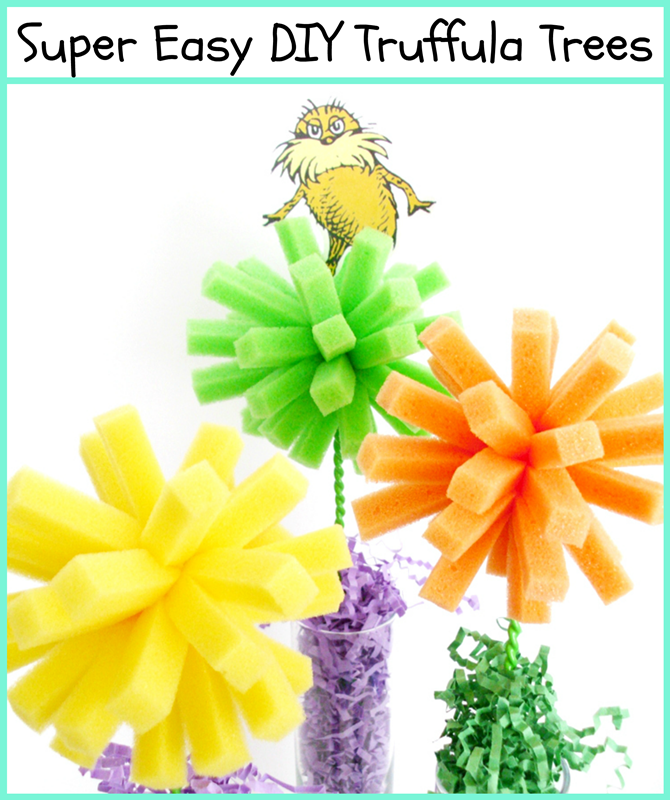 Dr. Seuss Craft: Truffula Trees from dishwashing sponges!