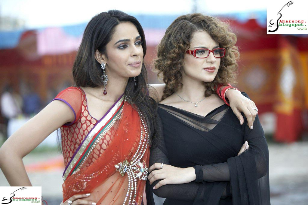 Mallika Sherawat with Langana in saree- Double Dhamaal