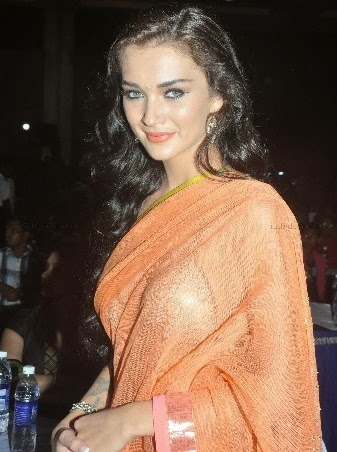 Amy Jackson in orange transparent saree nip slip pics