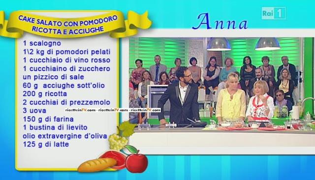 LA PROVA DEL CUOCO - RICETTA TORTA SALATA CON POMODORO RICOTTA E ACCIUGHE - ANNA MORONI - 17\09\2013