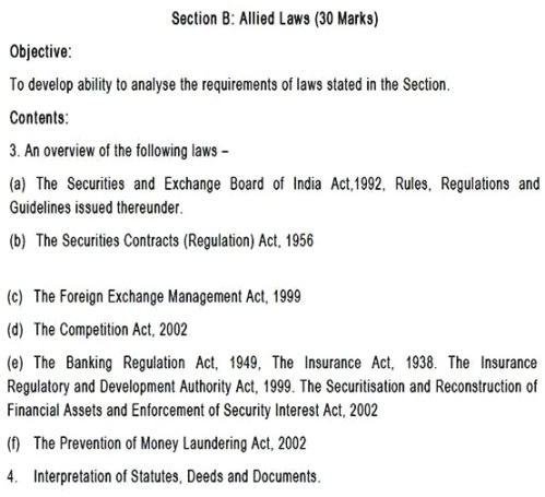 CA FINAL PAPER 4 - SYLLABUS - CORPORATE AND ALLIED LAWS