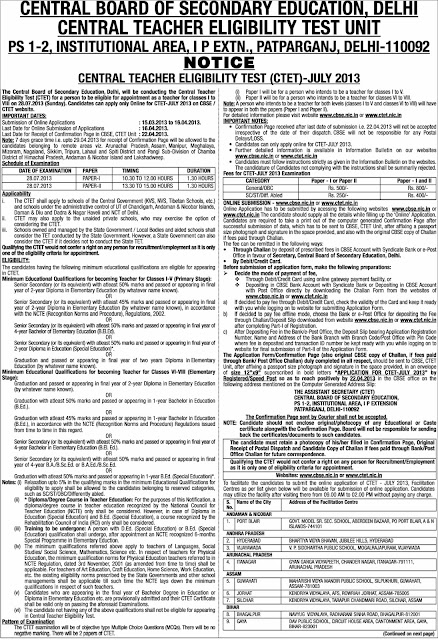 CTET 2013 Notification