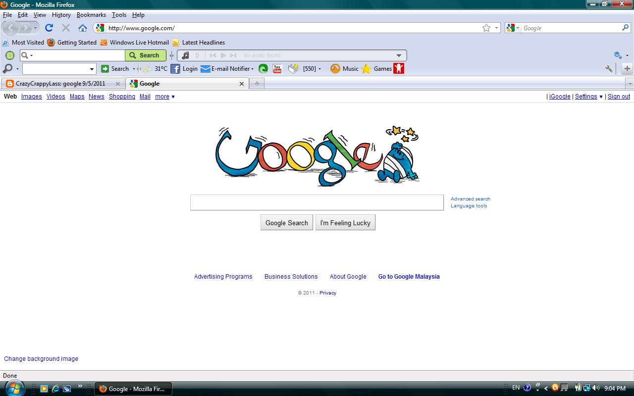 Crazycrappylass google 9 5 2011 - Google home page design ...
