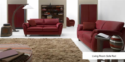 Living Room Sofa Red