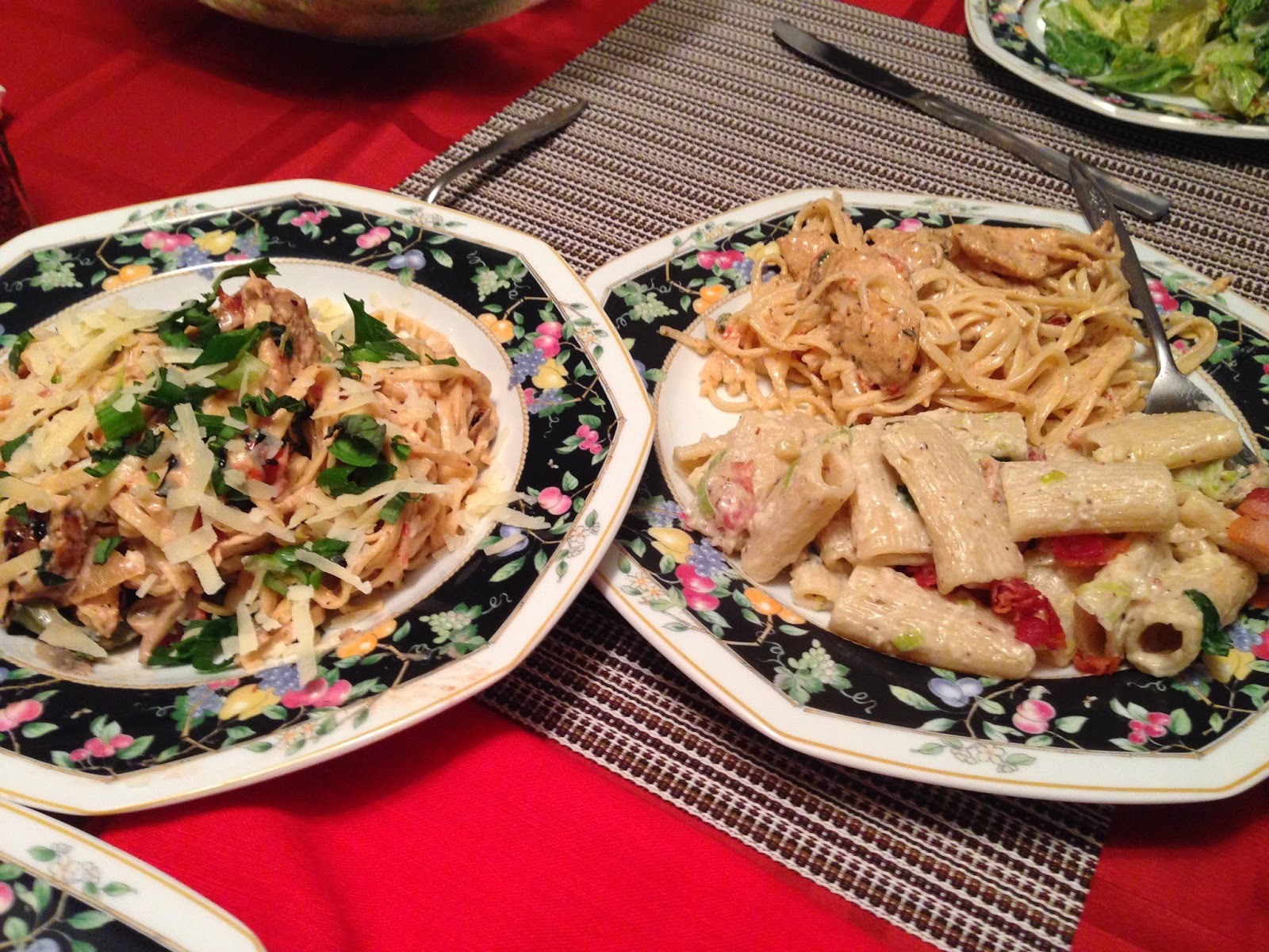 , Sausage, and Roasted Vegetable Linguine; Lower Right: Creamy Bacon ...