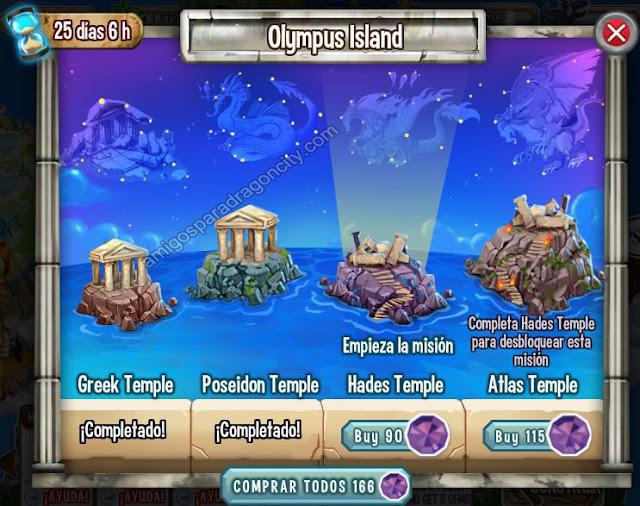 imagen del tercer segmento de la isla olympus de dragon city