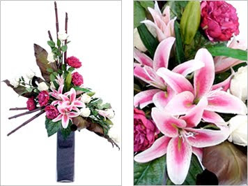 Stargazer Lily, Peony, Roses and Bamboo Vase