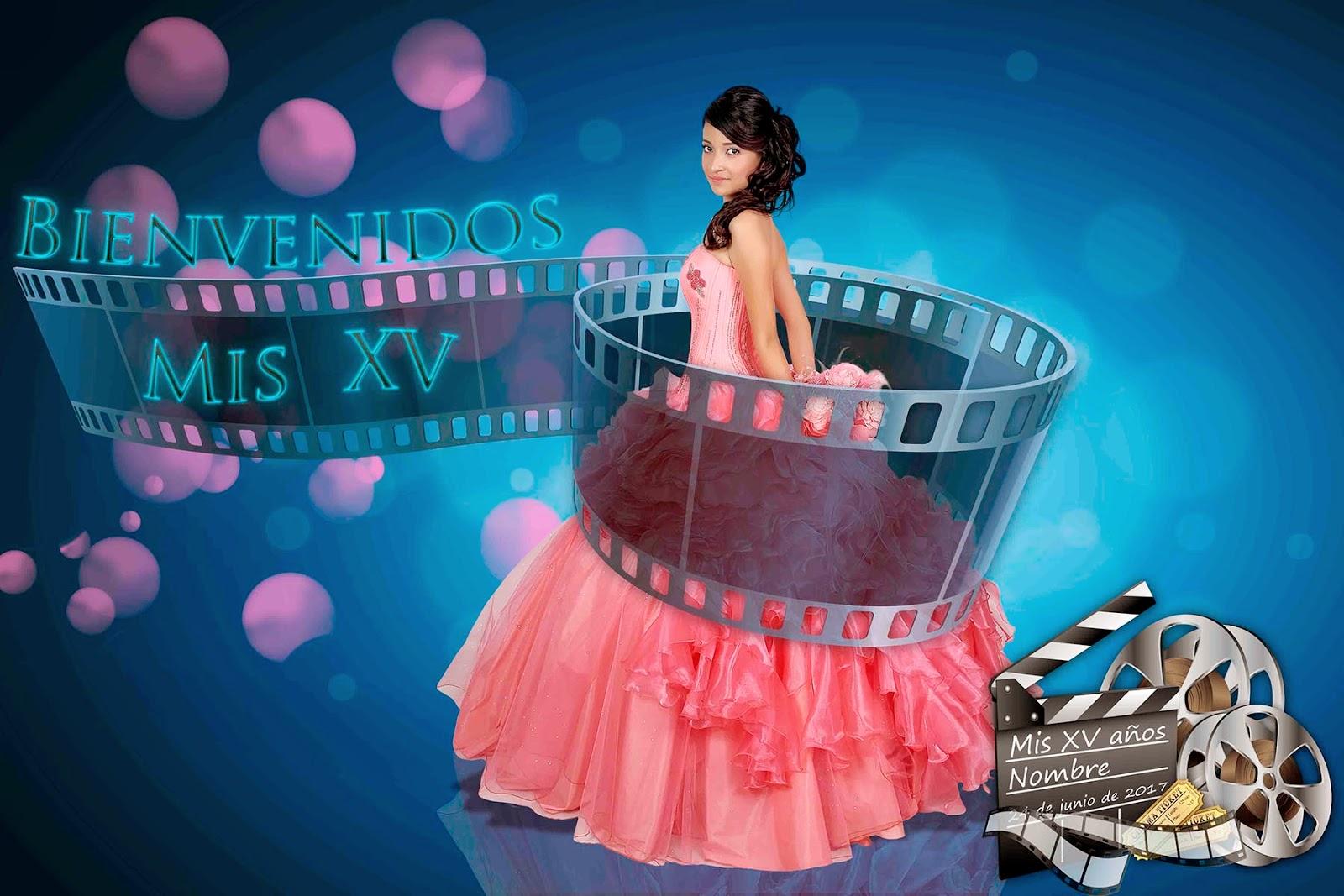 Escenario con quinceañera rodeada de película de cine