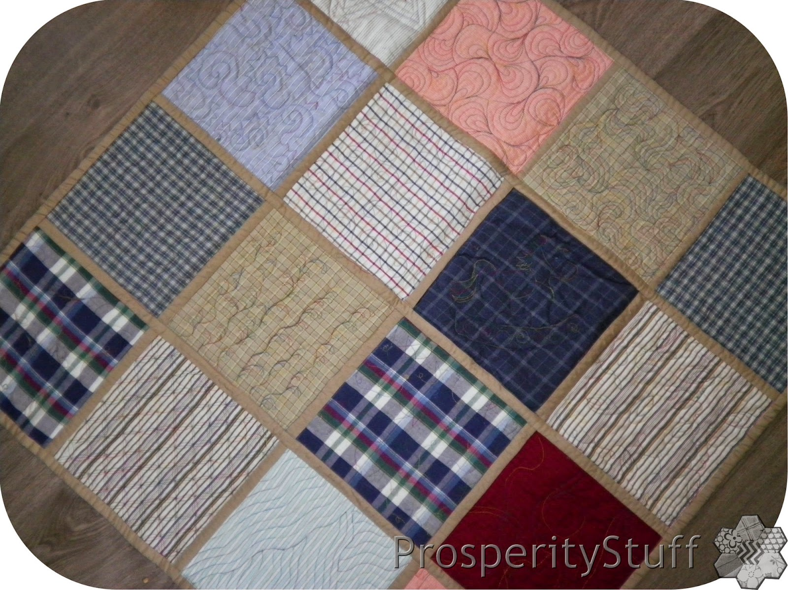 ProsperityStuff Quilt-As-You-Go Shirt Quilt (Plaids)