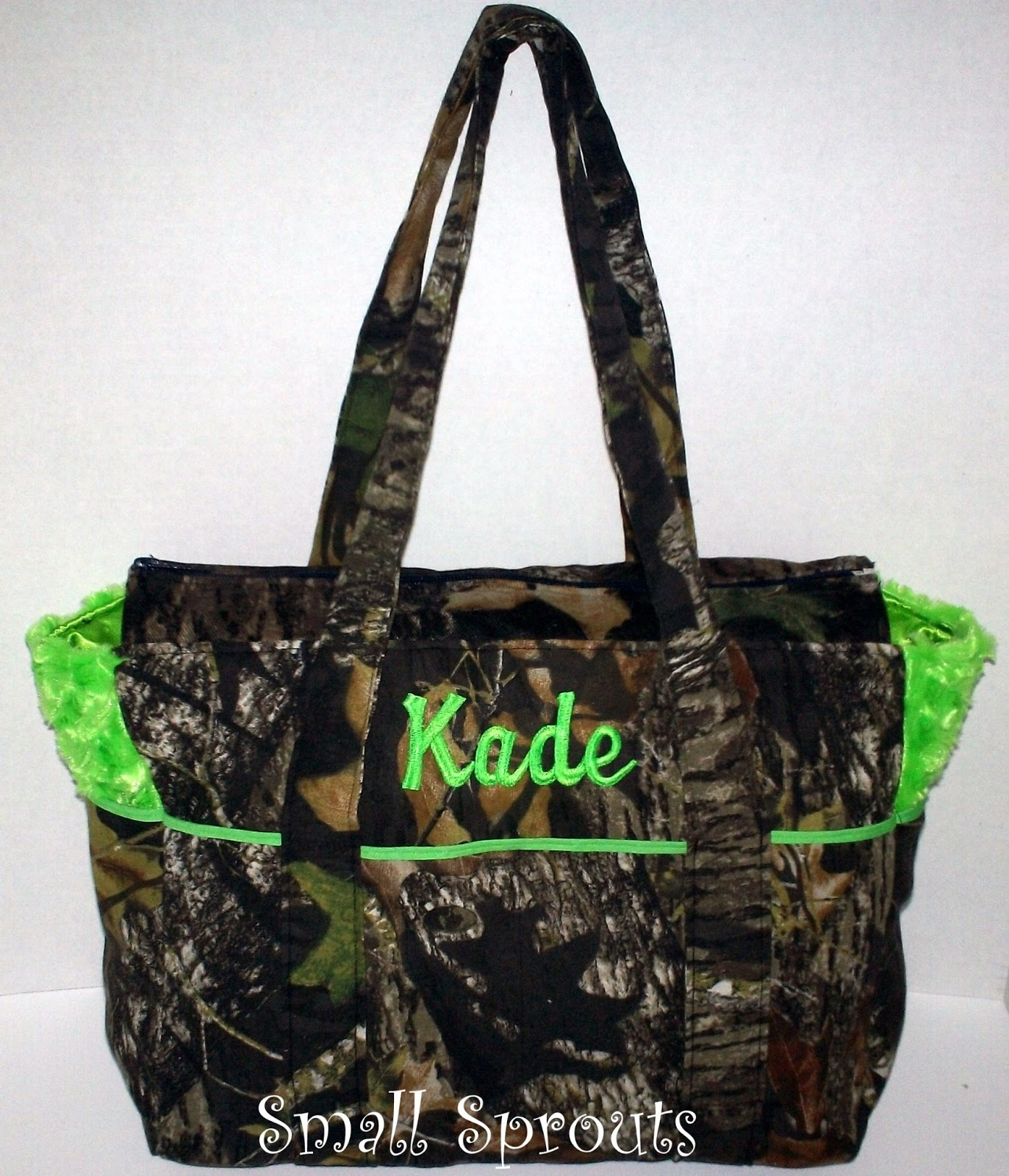 Small Sprouts: Mossy Oak Breakup Camo Lime Fancy Diaper Bag