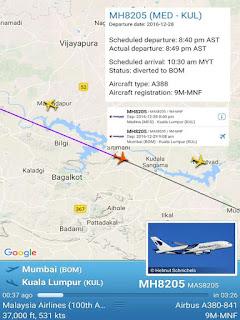 MH8205 MADINAH-KL TERPAKSA MENDARAT DI BOMBAY