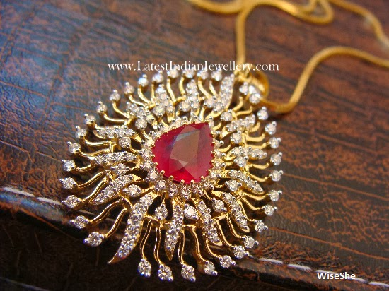Dazzling Diamond Pendant Center Ruby
